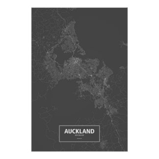 Auckland, New Zealand (white on black) Poster