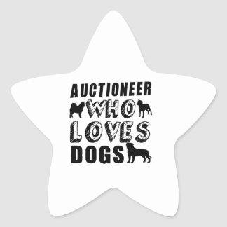 auctioneer Who Loves Dogs Star Sticker
