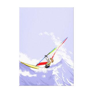 Audacious young Windsurf sailing between strong Canvas Print