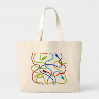 Audio cables large tote bag