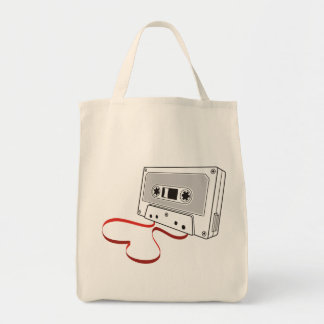 Audio cassette grocery tote bag