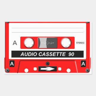 Audio cassette rectangular sticker