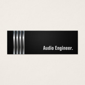 Audio Engineer - Black Silver Stripes Mini Business Card