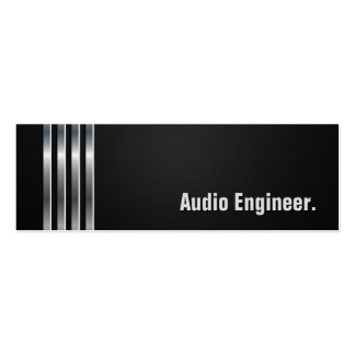 Audio Engineer - Black Silver Stripes Pack Of Skinny Business Cards