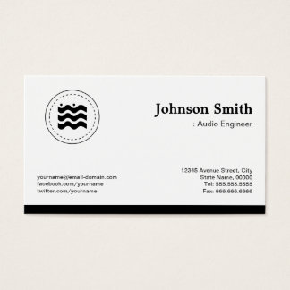 Audio Engineer Black White Changeable Logo Business Card