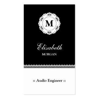 Audio Engineer Black White Lace Monogram Double-Sided Standard Business Cards (Pack Of 100)