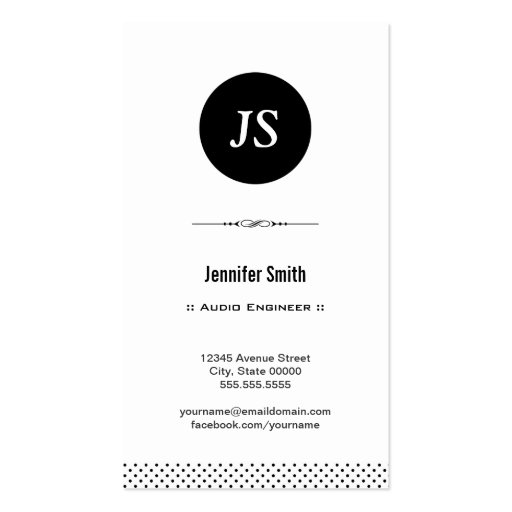 Audio Engineer - Clean Black White Business Card Templates