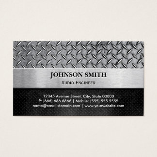 Audio Engineer - Diamond Metal Plate Business Card