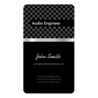 Audio Engineer - Elegant Black Silver Squares Pack Of Standard Business Cards