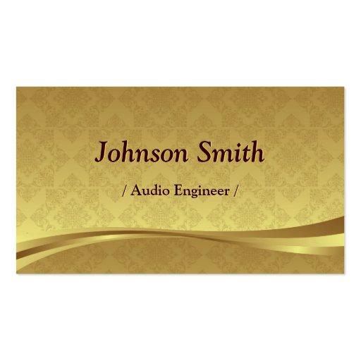 Audio Engineer - Elegant Gold Damask Business Card Template