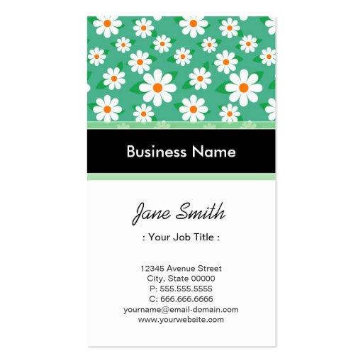 Audio Engineer Elegant Green Daisy Pattern Business Card