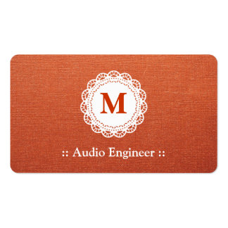 Audio Engineer - Elegant Lace Monogram Pack Of Standard Business Cards