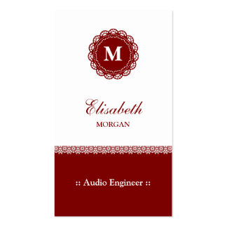 Audio Engineer - Elegant Red Lace Monogram Double-Sided Standard Business Cards (Pack Of 100)