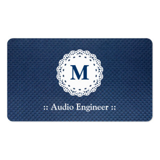 Audio Engineer - Lace Monogram Blue Pattern Double-Sided Standard Business Cards (Pack Of 100)