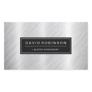 Audio Engineer - Modern Brushed Metal Look Business Cards
