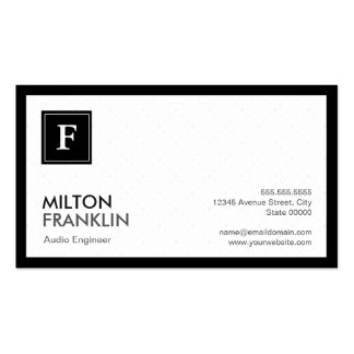 Audio Engineer - Modern Grid Monogram Pack Of Standard Business Cards