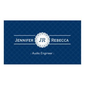 Audio Engineer - Modern Monogram Blue Pack Of Standard Business Cards