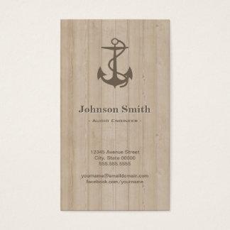 Audio Engineer - Nautical Anchor Wood Business Card