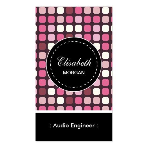 Audio Engineer- Pink Polka Pattern Business Card