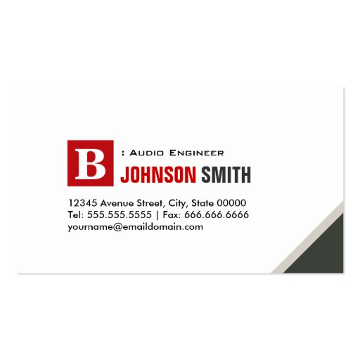 Audio Engineer - Simple Chic Red Business Card Template