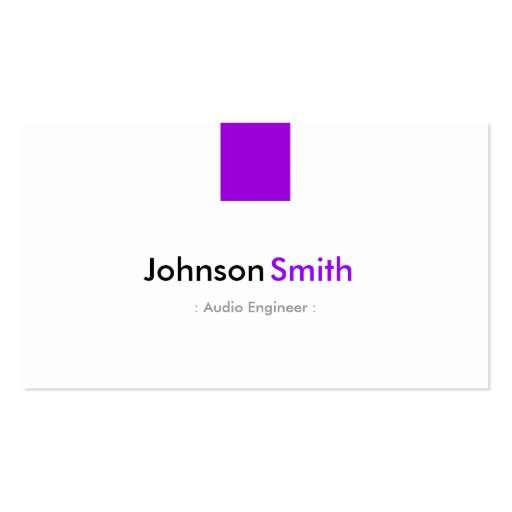 Audio Engineer - Simple Purple Violet Business Card Templates