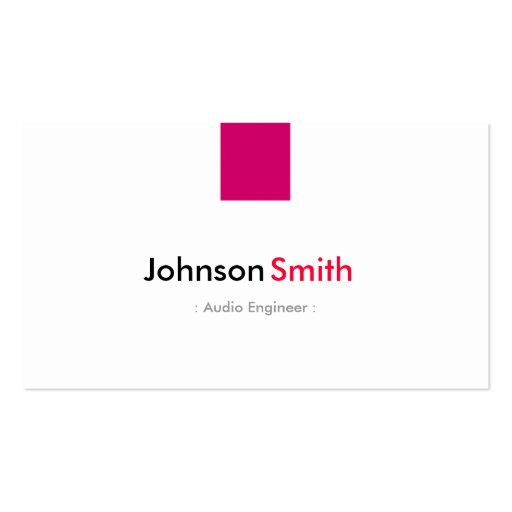 Audio Engineer - Simple Rose Pink Business Cards