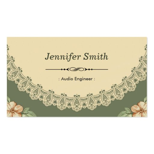 Audio Engineer - Vintage Chic Floral Business Card Template