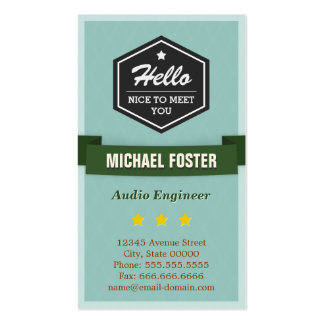 Audio Engineer - Vintage Style Hello Pack Of Standard Business Cards