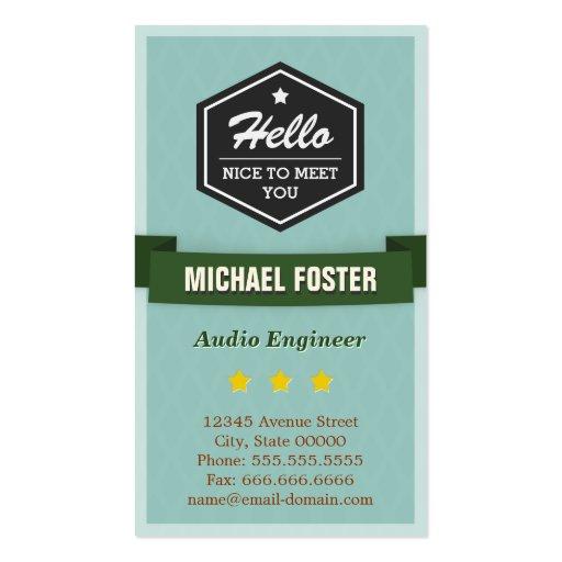 Audio Engineer - Vintage Style Hello Business Card Templates