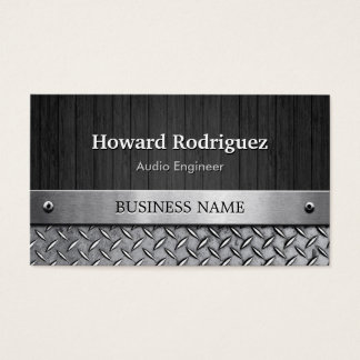 Audio Engineer - Wood and Metal Look Business Card