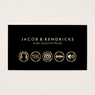 Audio Equipment Rental Gold Icons BusinessCard