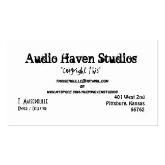 Audio Haven Studios, T. Maiseroulle, Owner / Op... Business Card Templates