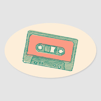 Audio tape sketch oval sticker