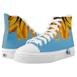 audiophiliacs.com SUMMER SUNFLOWER high tops Printed Shoes