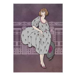 AUDREY: Art Deco Fashion in Grey and Rose Poster