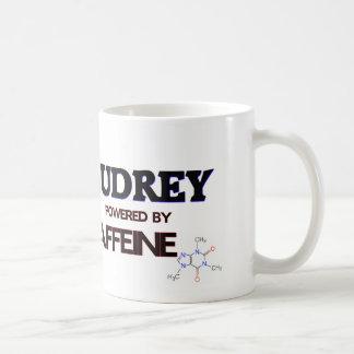 Audrey powered by caffeine mug