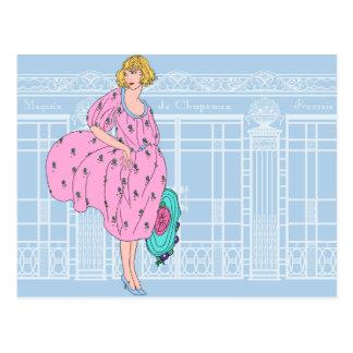 Audrey s Parisian Hat Shop - French Art Deco Postcard