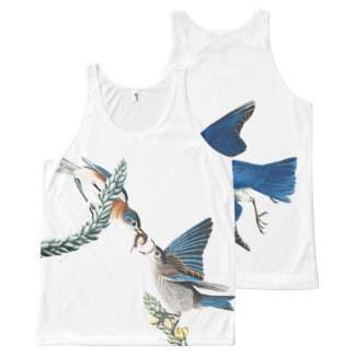 Audubon Birds Wildlife Animals Floral Tank Top