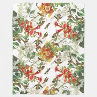 Audubon Birds Wildlife Floral Fleece Blanket