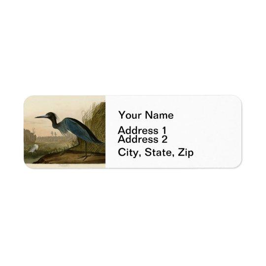 Audubon Blue Crane Heron Birds of America Return Address Label
