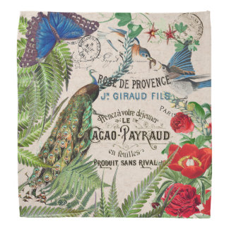 Audubon Bluebird Bird Rose Flower Peacock Bandana
