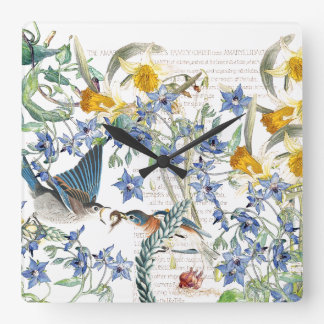Audubon Bluebird Birds Narcissus Floral Wall Clock