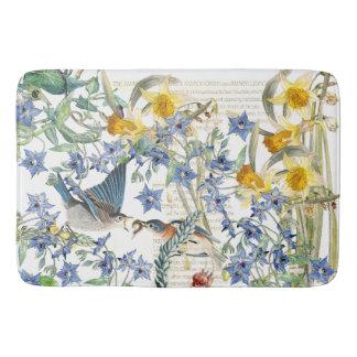 Audubon Bluebird Birds Narcissus Flowers Bath Mat