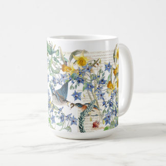 Audubon Bluebird Birds Narcissus Flowers Mug