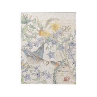 Audubon Bluebird Birds Narcissus Flowers Notepad