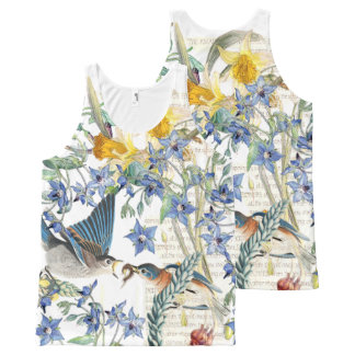 Audubon Bluebird Birds Wildlife Floral Tank Top