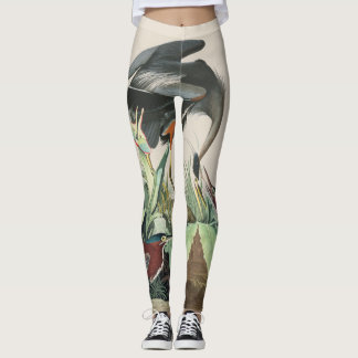 Audubon Bluebird Heron Bird All Over Print Legging