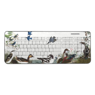 Audubon Collage Birds Wildlife Wireless Keyboard