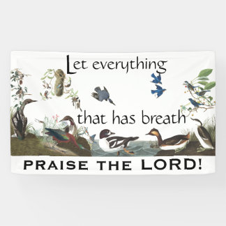 Audubon Collage of Birds Praise the Lord Banner