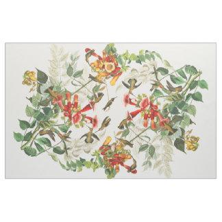 Audubon Hummingbird Birds Flowers Floral Fabric